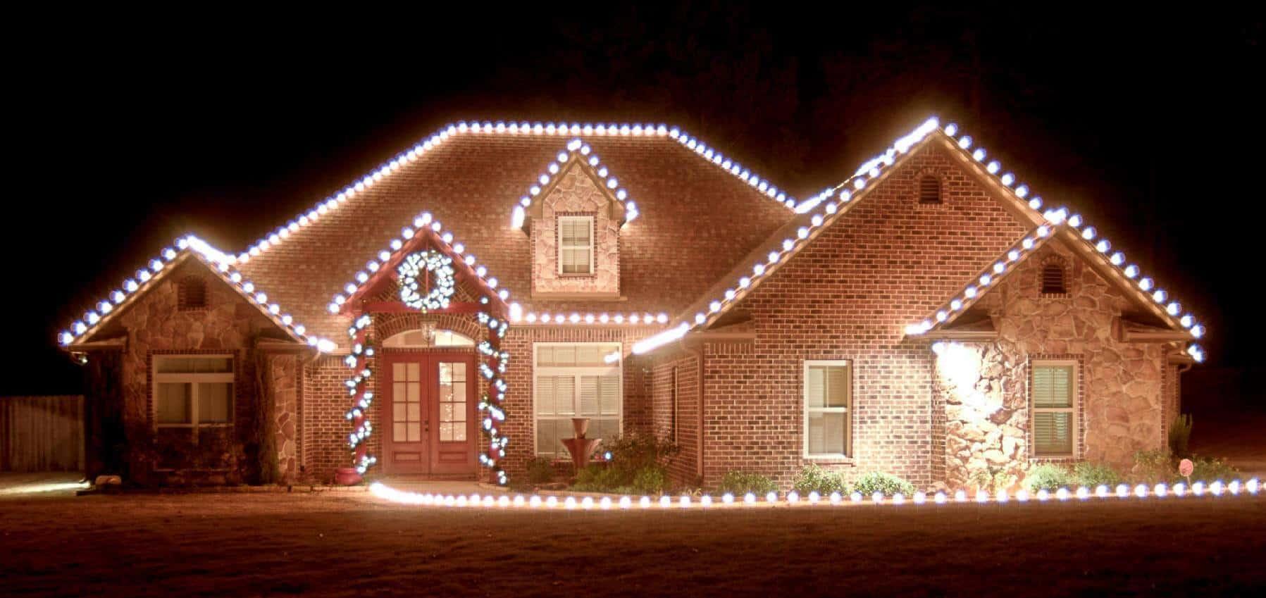 how to put christmas lights on roof peak