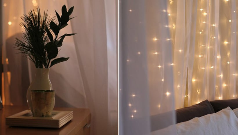 Home Decor using Christmas Lights Bed