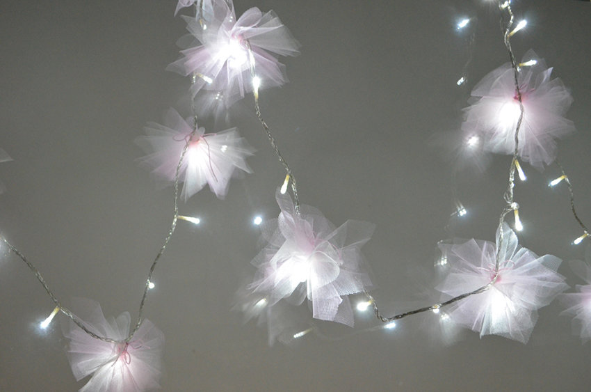 DIY Tulle Flower Fairy Lights