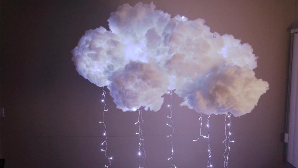 DIY Cotton Clouds With Christmas Lights