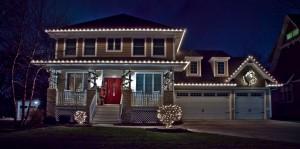 Christmas Light Installed on Roofline