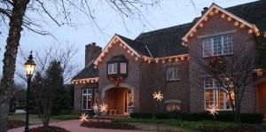 Warm White Snow Flakes on House