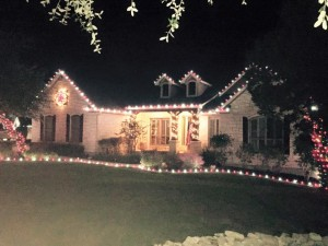 Red and White Christmas Light Installation