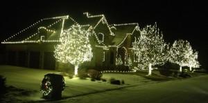 Warm White Christmas Light Installation in Snow
