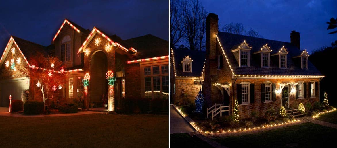 Superb White And Colored Christmas Lights Part - 8: Christmas Light Installation