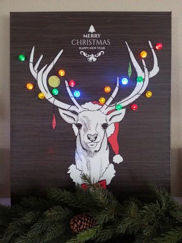 DIY Christmas Decorations - Reindeer Christmas Light Canvas