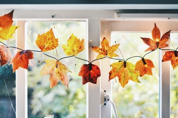 DIY Fall Leaf Garland with Christmas Lights