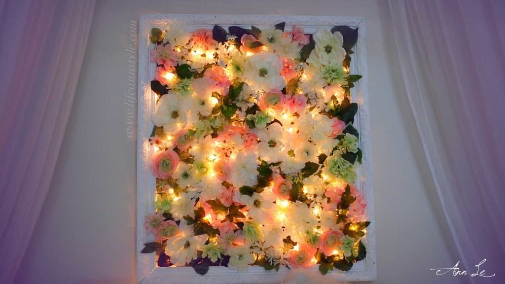 diy flower frame with christmas lights light it up