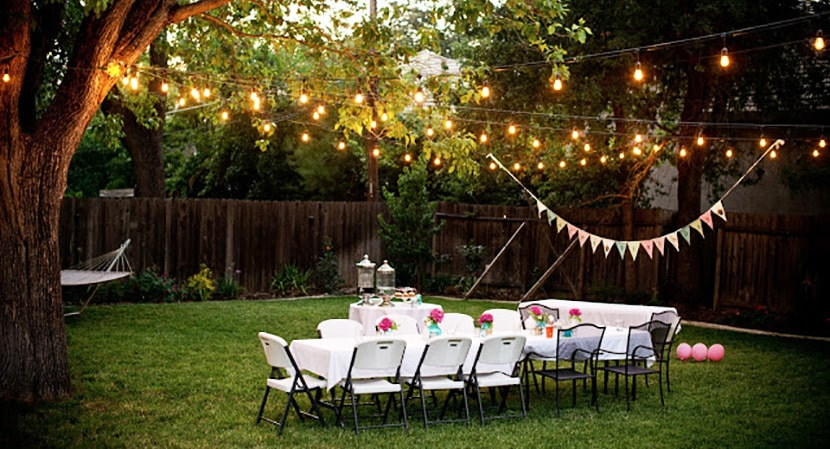 How to use christmas lights for a party for Backyard engagement party decoration ideas