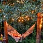outdoor lighting using christmas lights hammock
