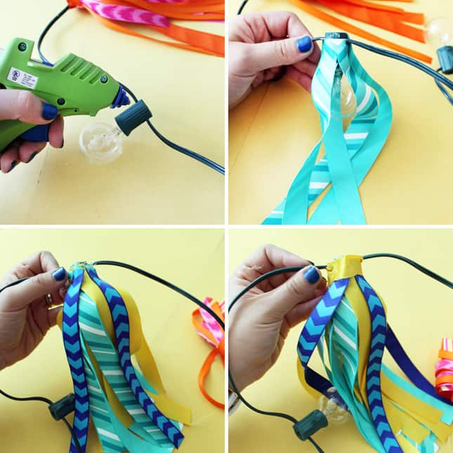 DIY summer party lights with ribbon