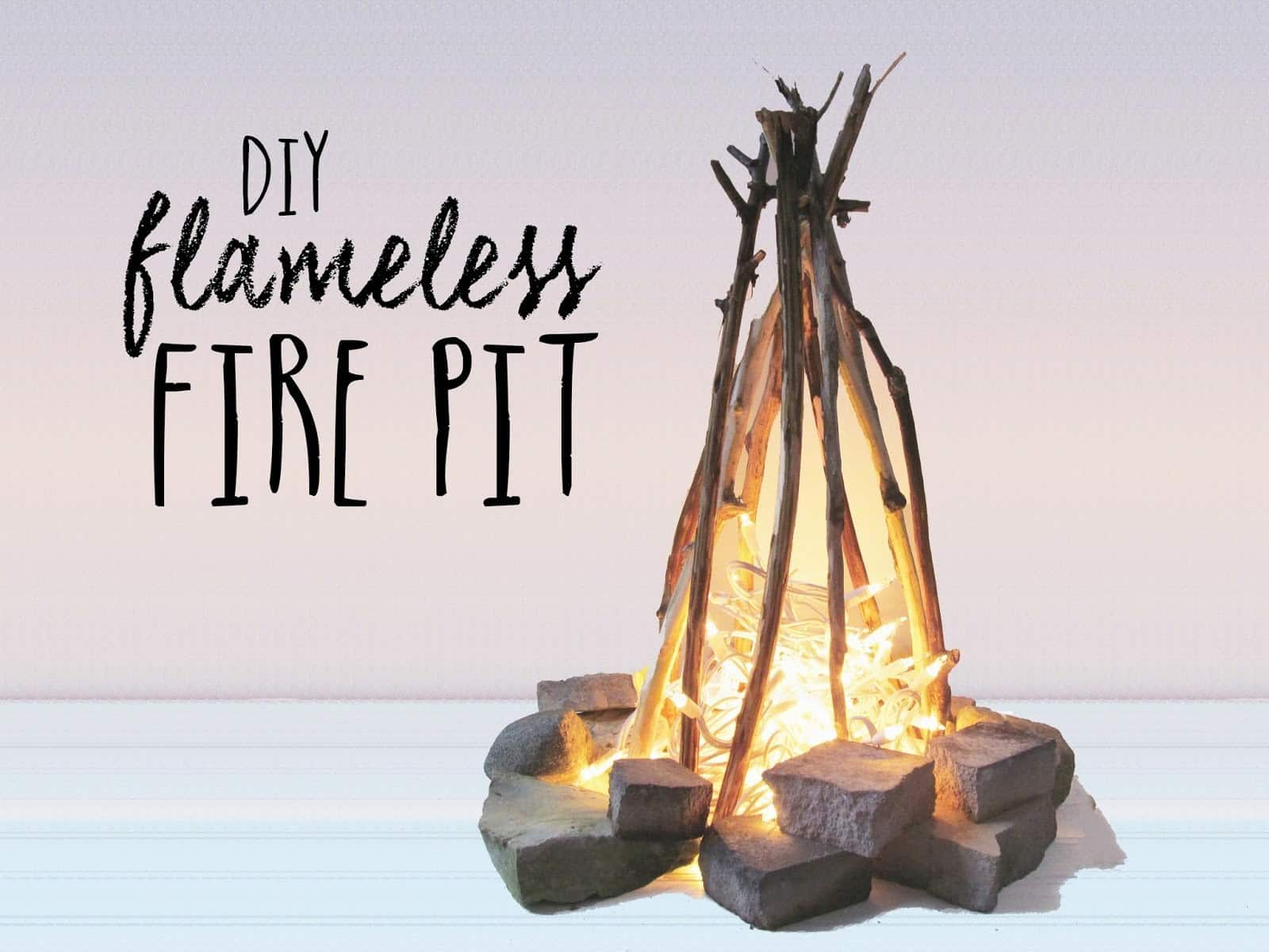 Diy Flameless Fire Pit With Christmas Lights