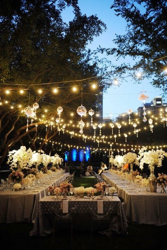 Ideas for wedding reception decorating with lights outdoor wedding reception decorating junglespirit Gallery