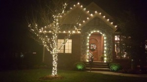 Warm White Christmas Lights Installed