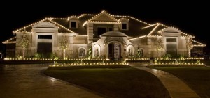 Christmas light installation on Large Home