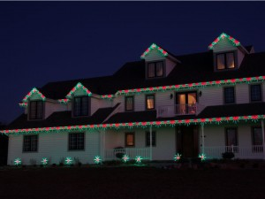 Red and Green Christmas Lights on Roofline