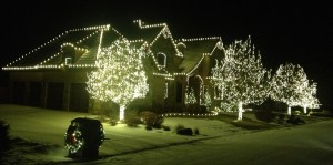 Warm White Christmas Light Installation in Snow